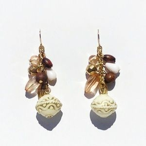 Jewelry - Brown and White Dangly Beaded Fishhook Earrings